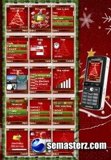 Merry Christmas theme для Sony Ericsson 176x220