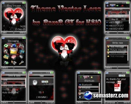 Theme Vector Love Red and Blue 240х320